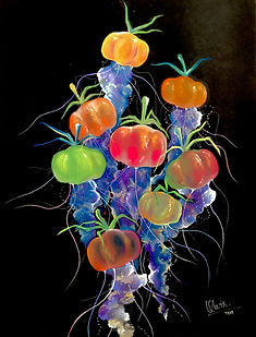 tin q nguyen art vanderbilt artist scientist nashville tomato jellyfish colorful fruits