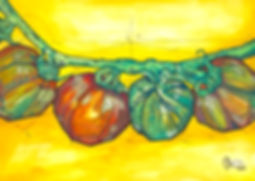 tomato art fest watercolor ink vine sketch fruit colorful tin nguyen