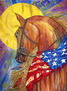 tin q nguyen horse nashville sedone america flag watercolor colorful