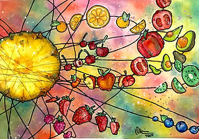 tomato art fest tin nguyen pineapple fruit strawberry rasberry blueberry kiwi avocado orange cherry galaxy solar system colorful watercolor