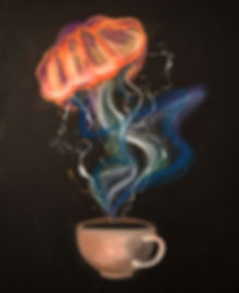 tin q nguyen art vanderbilt artist scientist nashville jellyfish cup coffee brownian motion physics colorfl
