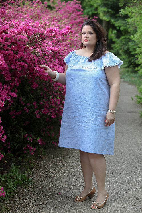 Robe volant bleu clair