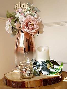 Rose Gold Table Centrepiece with Blush & Cream Flowers
