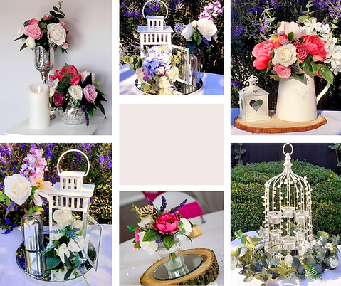 A selection of beautiful wedding table centrepieces including lanterns, flowers, silverware and candles