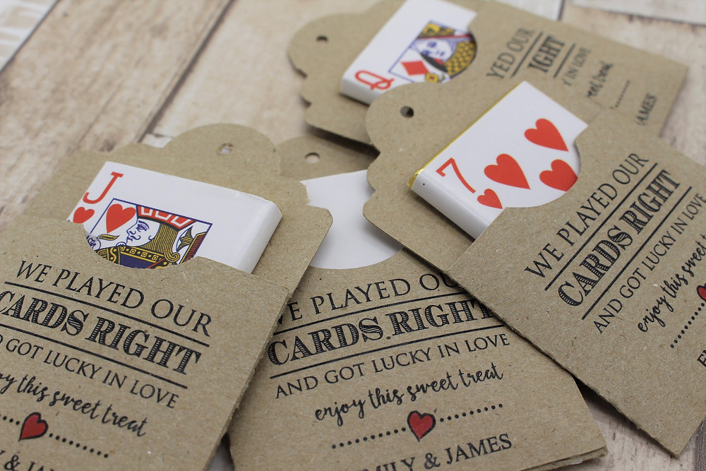 Wedding Library recommended wedding favour chocolate playing card