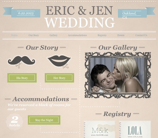An example of a personal wedding website designed using Wix