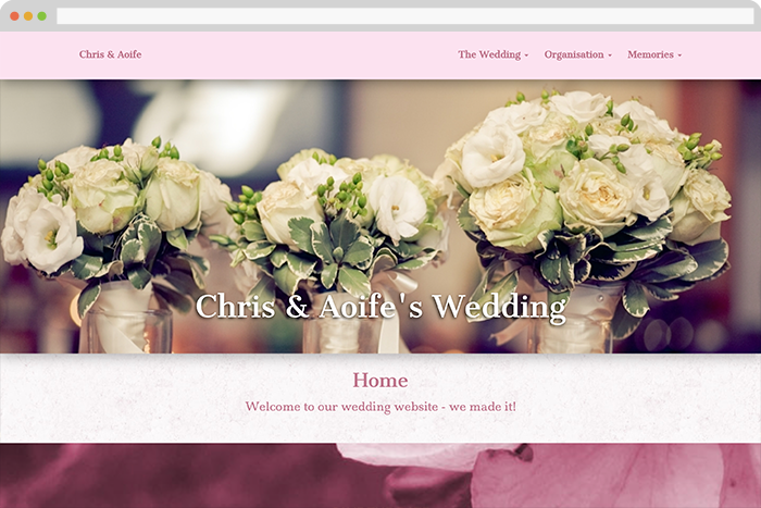 An example of a wedding website designed using 'www.gettingmarried.co.uk''