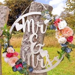 Mr & Mrs Floral Hoop