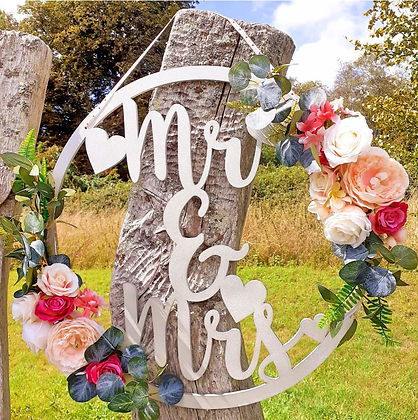 Large Floral 'Mr & Mrs' Hoop decorated with beautiful silk flower garlands
