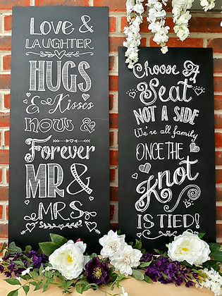 Bespoke chalkboard signs including 'Love & Laughter' & 'Choose a Seat not a Side'