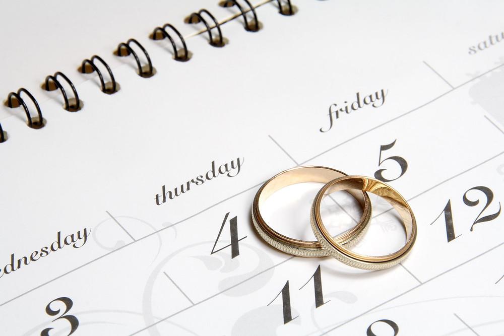 A wedding planning calendar