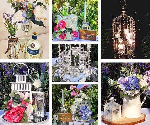 A selection of wedding table centrepieces including lanterns, flowers, silverware and candles