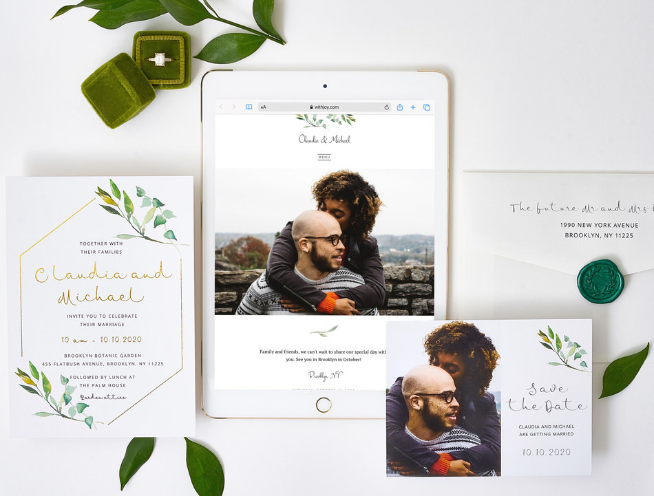 Snapshot of a wedding website and coordinated stationery from 'With Joy'