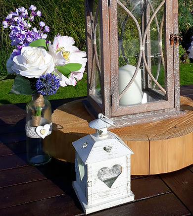 White wooden heart tea-light lanterns