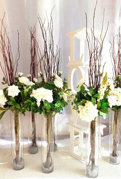 Cylinder Vase Wedding Centrepieces with Silk Flowers & Willow
