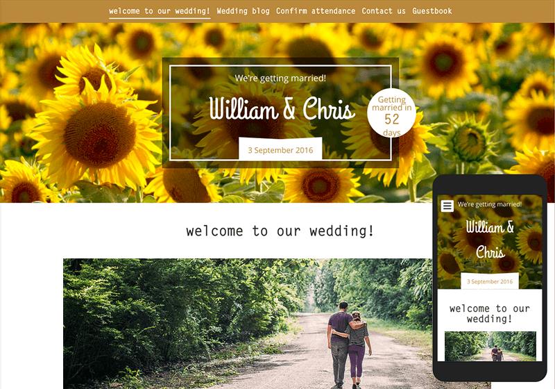 A screenshot of a personal wedding website designed using 'www.weddingwire.co.uk'.