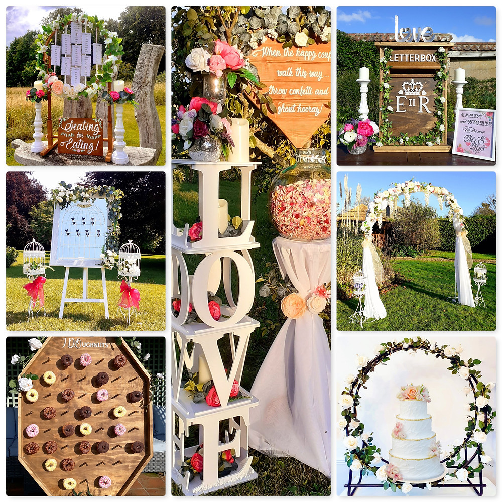 The Wedding Library Wedding decorations for hire inlcuding a wedding arch, seating plan and confetti hamper and cones
