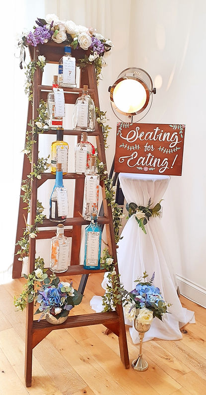 Wedding Ladder Seating Plan with Bottle Lights, Table Cards and Find Your Seat Sign