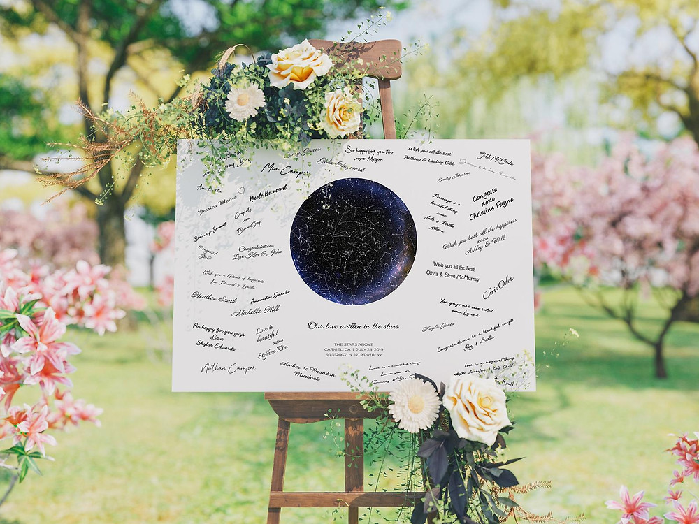 A custom star map, signed by wedding guests, displayed on an easel