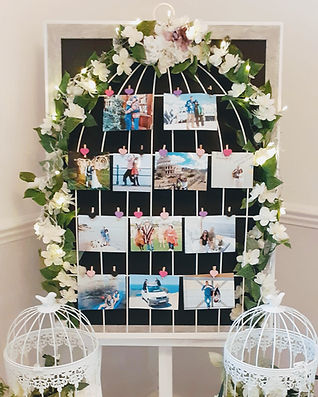 Birdcage design photo display board on a white easel. The frame is decorated with flowers & lights and shows photos, attached with mini-heart pegs