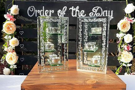 Silver sparkle mirror tea-light holders