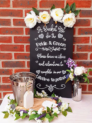 Bucket List Kit including a silver bucket, chalkboard sign & message tags