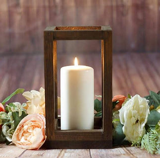 Oak open-frame pillar candle lantern