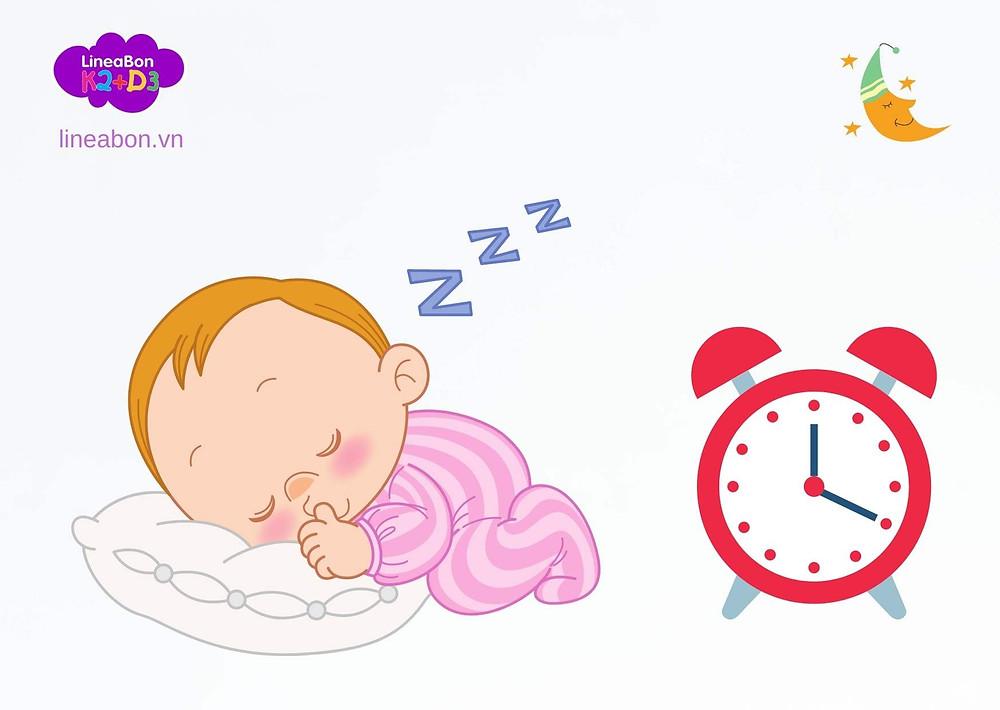 Thời gian ngủ: tùy theo độ tuổi của trẻ mà có thời gian  ngủ khác nhau.