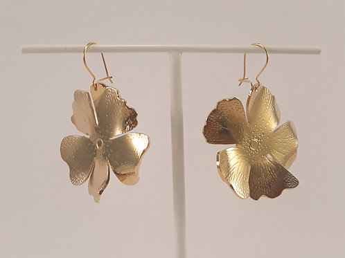 Boucles d'oreilles Hibiscus - Doré