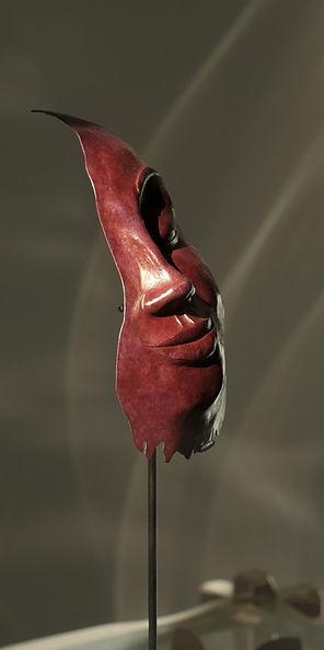 Sculpture Face en cuivre repoussé et patiné à chaud