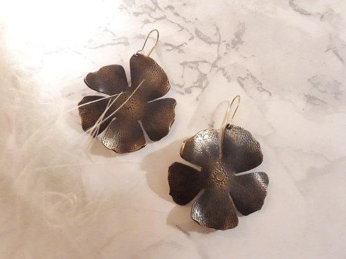 Boucles d'oreille Hibiscus - Patiné