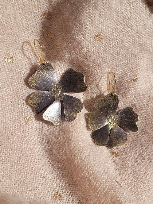 Boucles Hibiscus patinées - Petit modèle