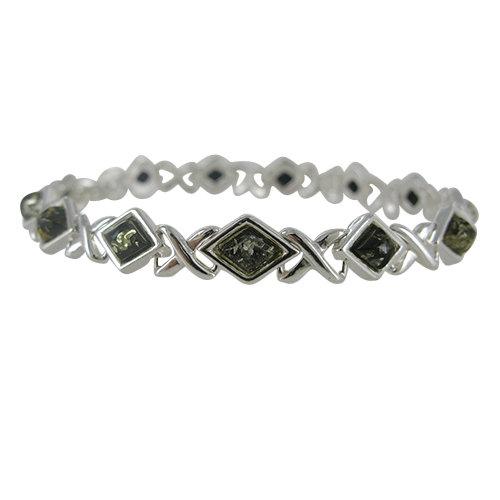 Amber Bracelet: Green Diamonds