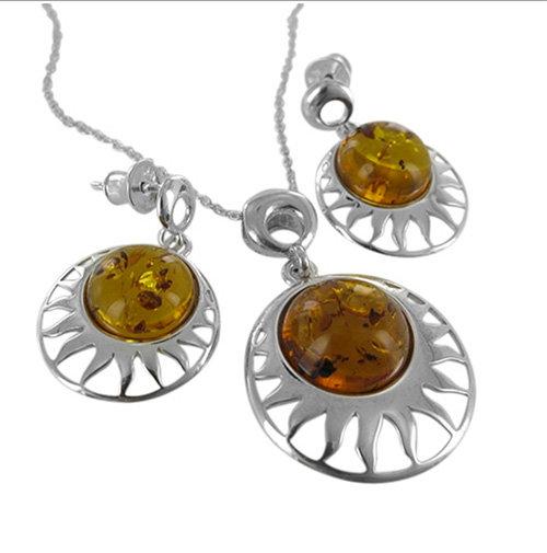 Amber Set: Rae Solar Pendant & Earrings