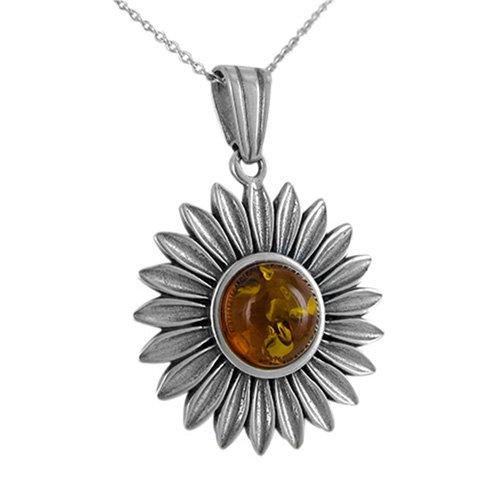Susannah Amber Sunflower pendant