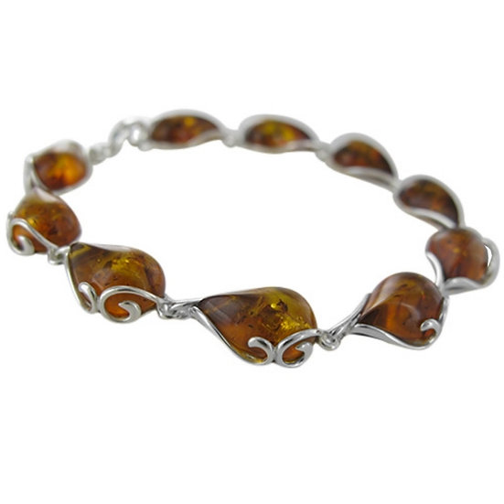 "Amber Bracelet: ""Paisley"" 7.5 inches"