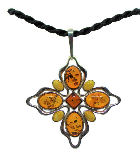 Baltic Amber Pendant: Jeweled