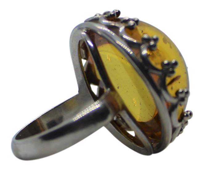 Baltic Amber Ring: Royal In size 7