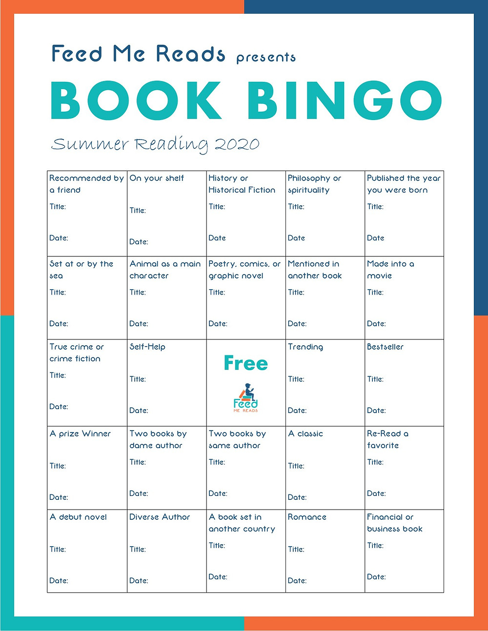 Feed Me Reads summer reading 2020 book bingo challenge