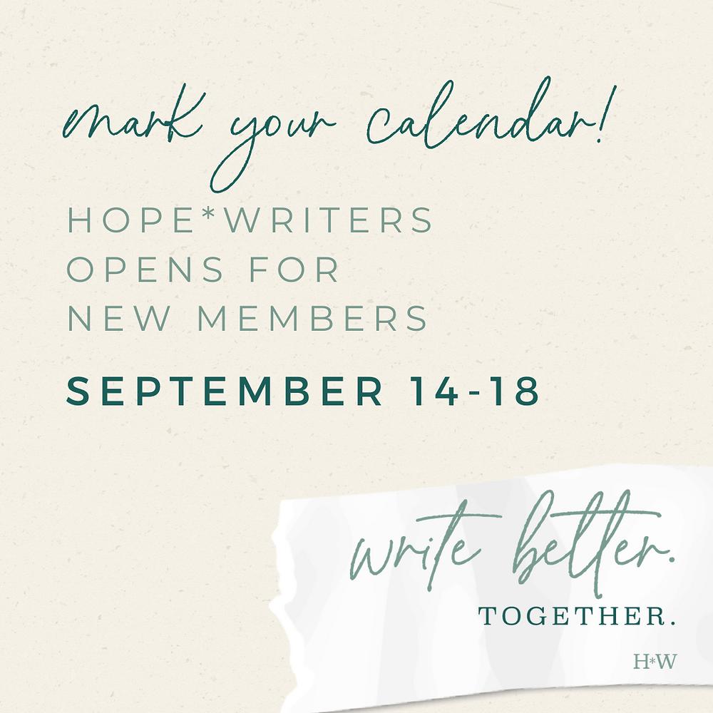 Hope*Writers open enrollment for new members, September 14-18, 2020
