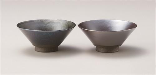 メタルラスター 手のり茶碗(ブラックラスター・茶銀彩)