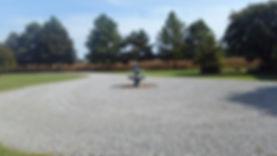 Blue gravel driveway