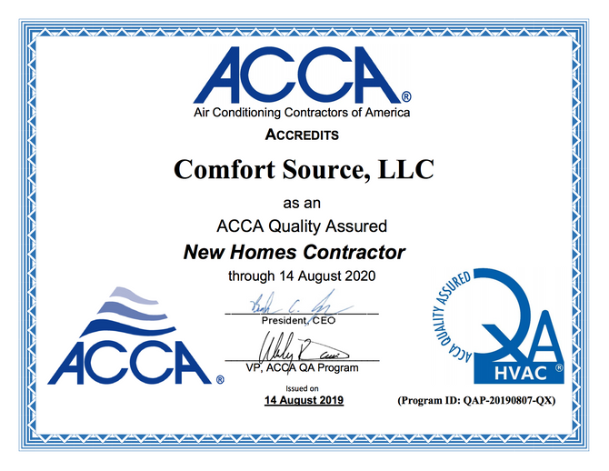 Press Release: Comfort Source, LLC of Charlottesville  Achieves ACCA Quality Assured Accreditation