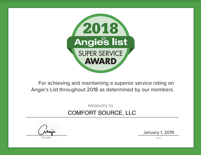 Angie's List Super Service Award Given to Comfort Source