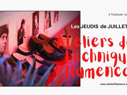   Ateliers de technique flamenca - Trois jeudis du mois de JUILLET 2021