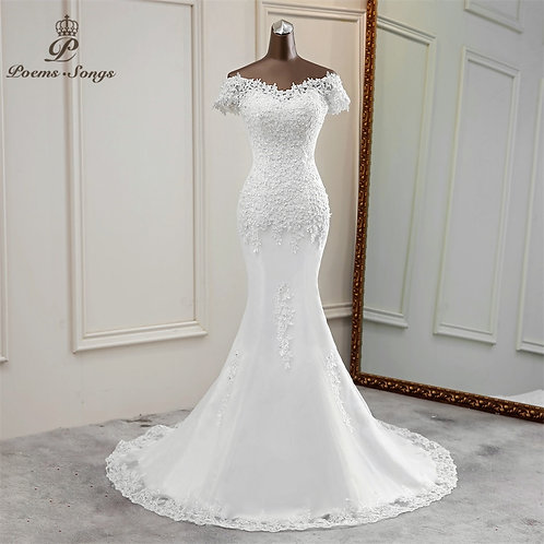 Sexy Appliques Flower Elegant Lace  Beautiful  Mermaid Gown