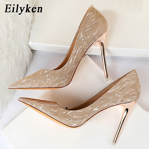 Women High Heels Pointed Glitter Sexy Shoes Gold Silver Femme Pumps