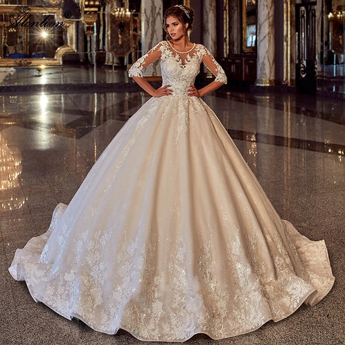 Shiny Beading Half Sleeves Lace Up Puffy Ball Gown
