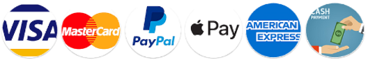 We accept Visa Card, Master Card, Paypal, Apple Pay, Amex and cash payment