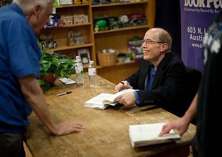 Glenn Frankel signs books after a talk at Book People in Austin, TX